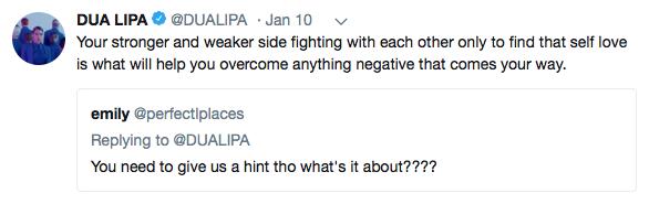 Dua Lipa IDGAF Tweet