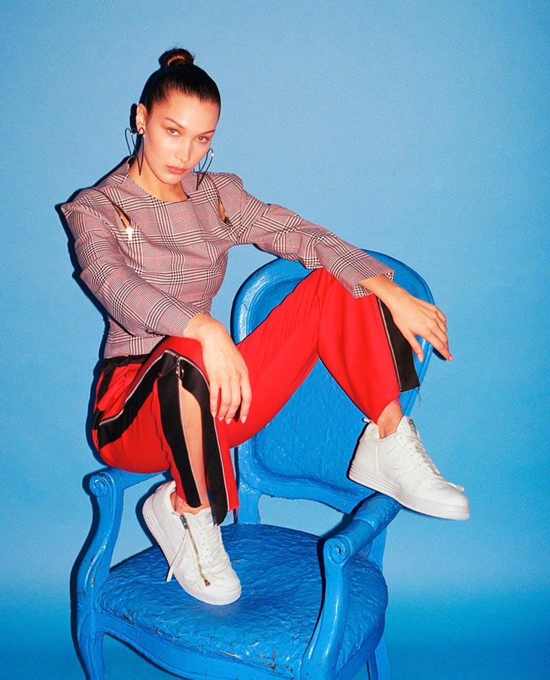 Bella Hadid in Unreleased Nike Air Force 1s for Footwear News
