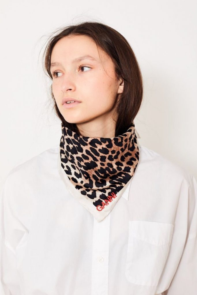 Ganni girls scarf animal print