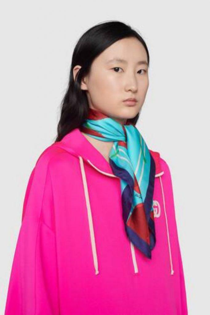 Gucci ken Scott foulard cherry silk scarf