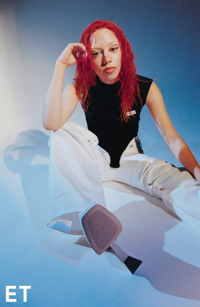 Flo Windey goes red in photo shoot for ENFNTS TERRIBLES